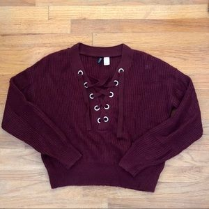 H&M Lace Up Sweater